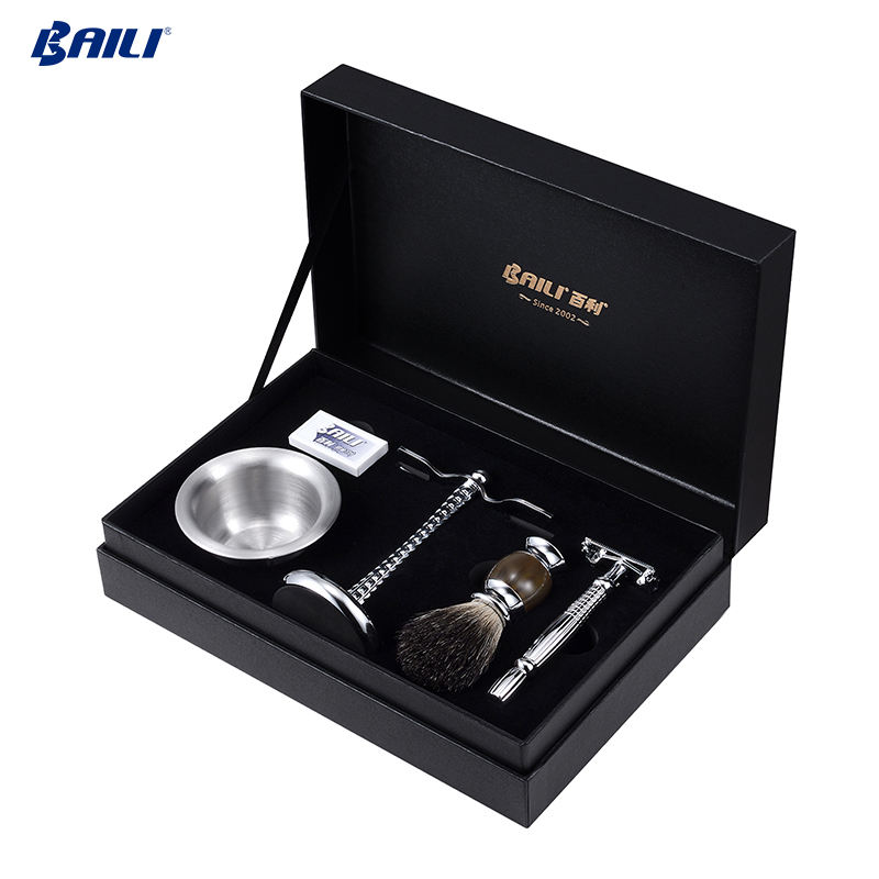 Cosmetics safty single blade barber razor beard brush shaving set