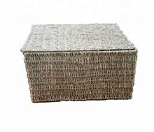 eco-friendly seagrass wicker woven storage basket with lid