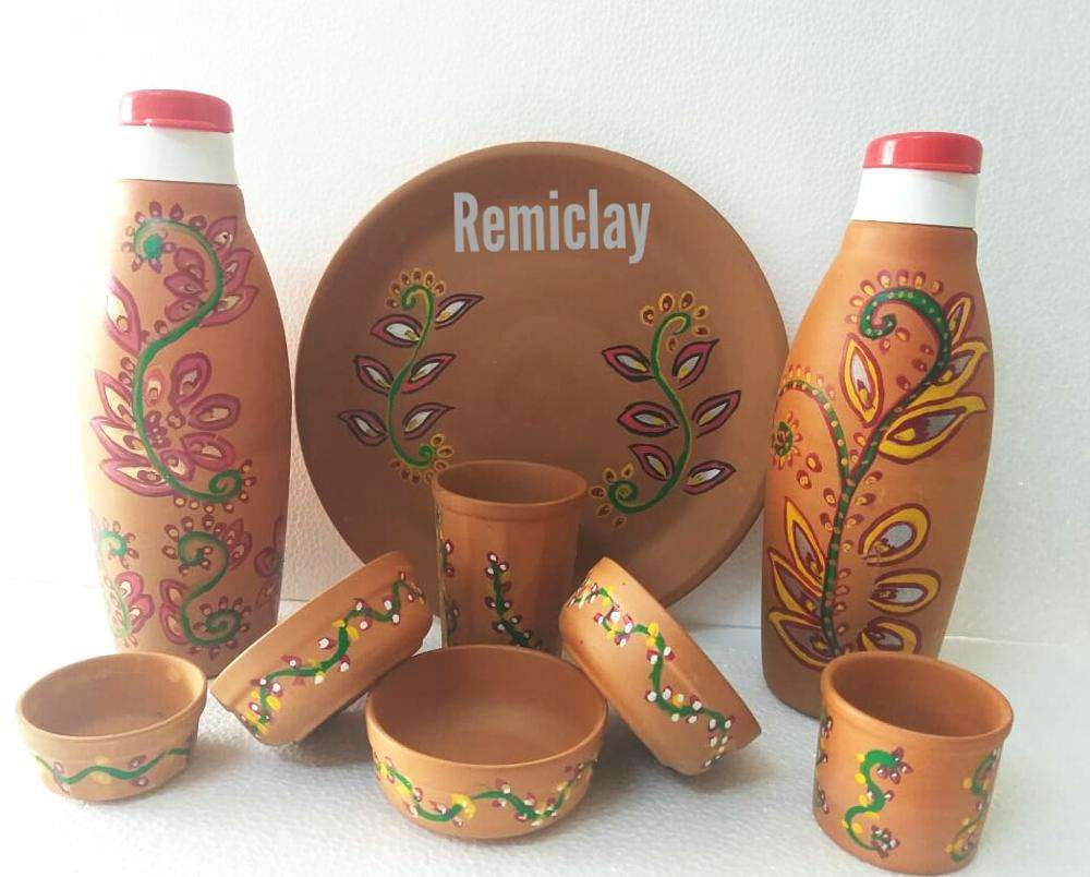 Complete Royal Dinner Set in Eco Friendly Terracotta Clay with Antique Indian Design