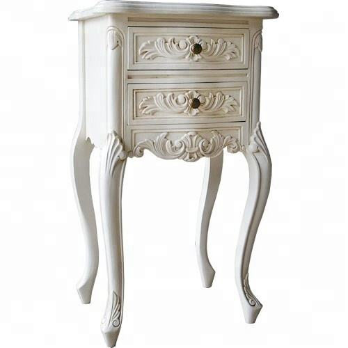 Rococo French White Bedside for nightstand bedroom set/sidetable living room wholesale french furniture indonesia