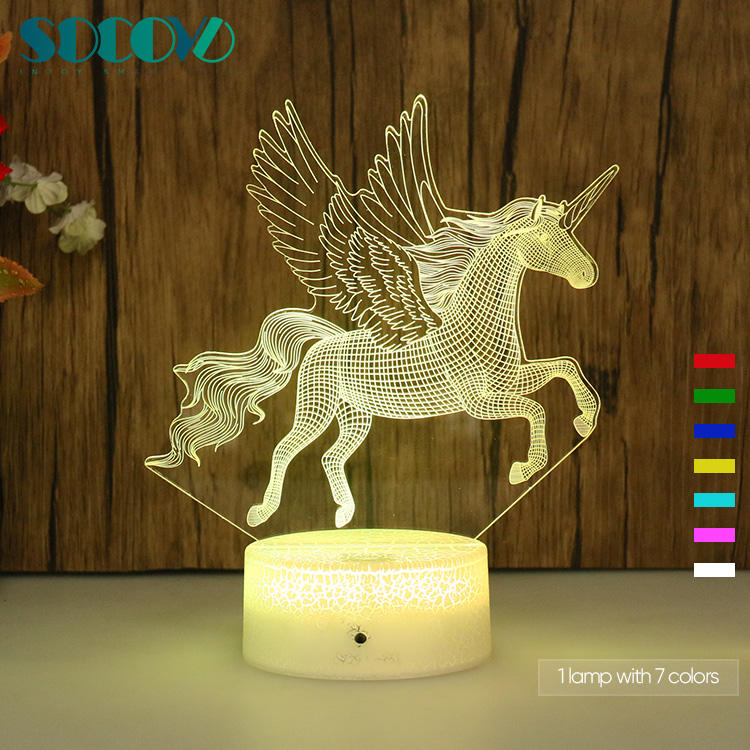 Factory wholesale OEM customized New Cartoon Lamp 3D Night Light 3D Illusion Lamp 3D LED Night Light For Kids