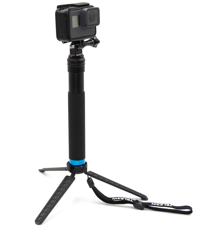 Aluminum Selfie Stick and Tripod in Handle Selfie Pole Monopod with Cellphone Clip Mount Extend to 98CM for Action cameras