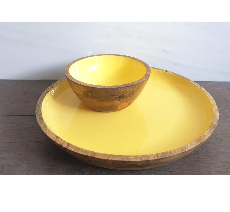 Wooden Mango plate with Serving Bowl Yellow Color