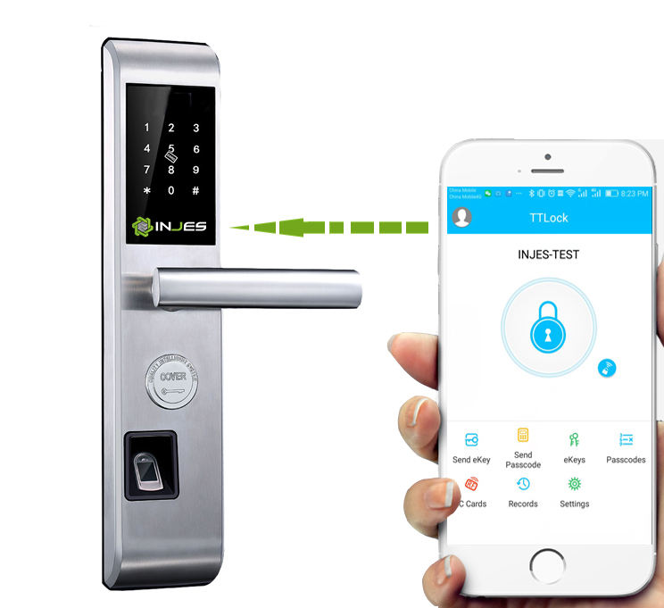 Tersembunyi Lubang Kunci Sidik Jari Biometrik Smart Door Handle Lock