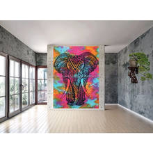 Indian Elephant Hippie Indian Traditional Throw Beach Wall Art Dorm Bohemian Multi Color Tapestry
