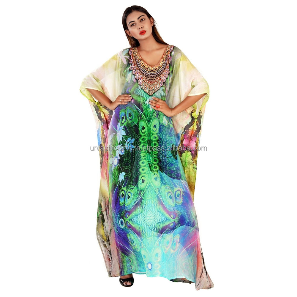 Adult designer free size beach Silk Digital Printed Stylish Kaftan 100% Georgette Digital caftan Woman's kaftan