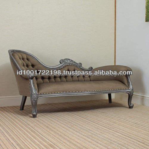 Stile antico francese di lusso Chaise Lounge Finitura Argento Fine Unico