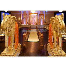 Wedding Entrance Fiber Elephant Statue Decor Royal Indian Wedding Elephant Statue Fiber Carved Statue for Hindu Marriage