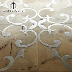 Design solid wood  parquet wood flooring marquetry  wood inlay stainless steel patterns
