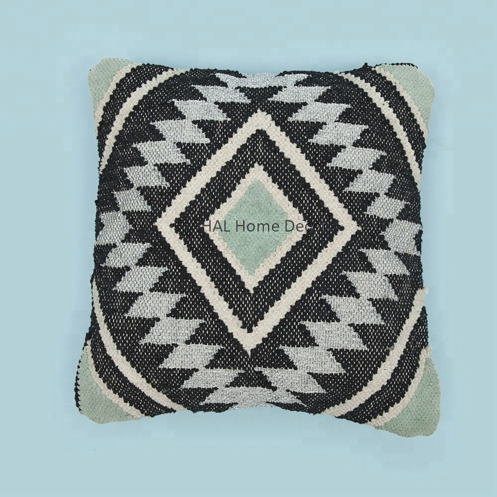 Jacquard Pillow case, stylish rich decorative cushion cover, Turquoise Back rest pillow