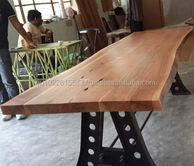 Dining Table To With Acacia Live Edge Wood Top