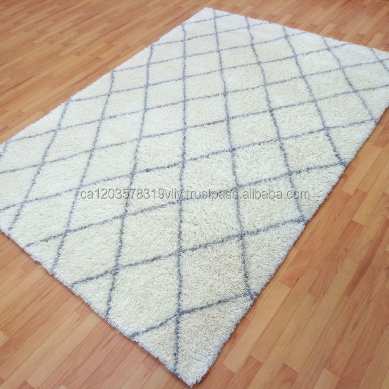 White Grey HandKnotted Moroccan Indian Handmade Carpet Rugs II