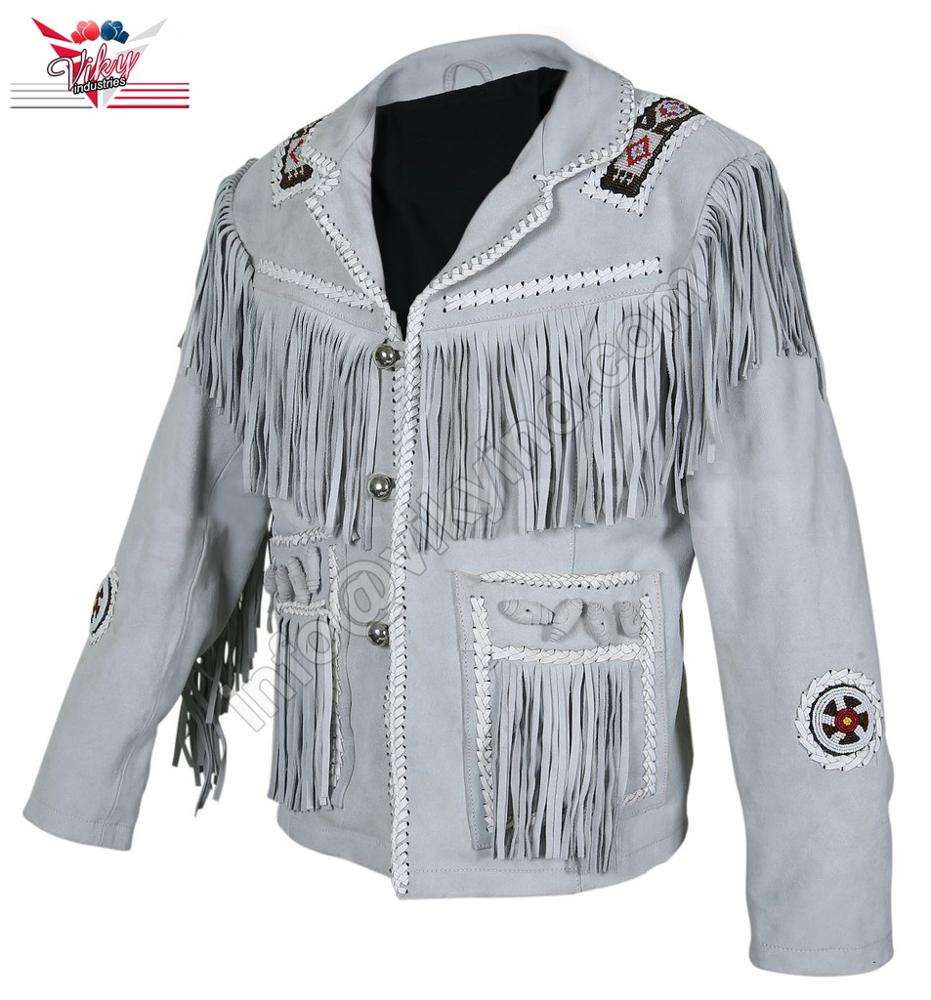 Top Quality in Low Price Men White Western Style Fringes Cowboy Suede Leather Jacket