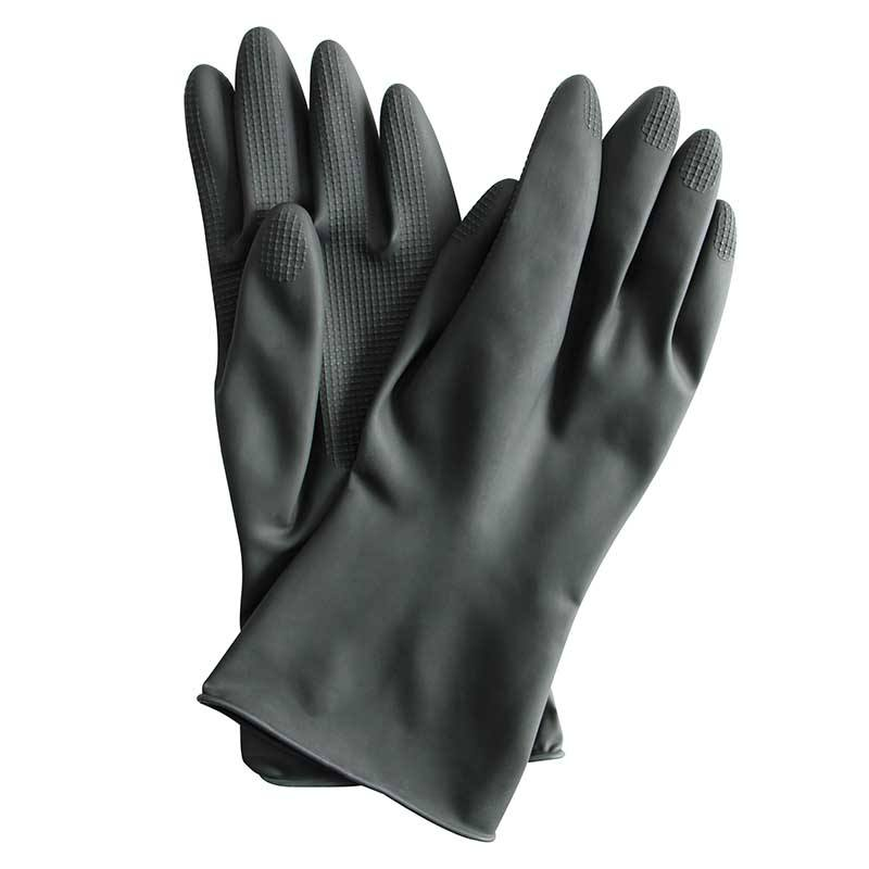Tailor Made Easy Use Latex Large Flock Lined Black Household Cleaning Toilet Rubber Gloves