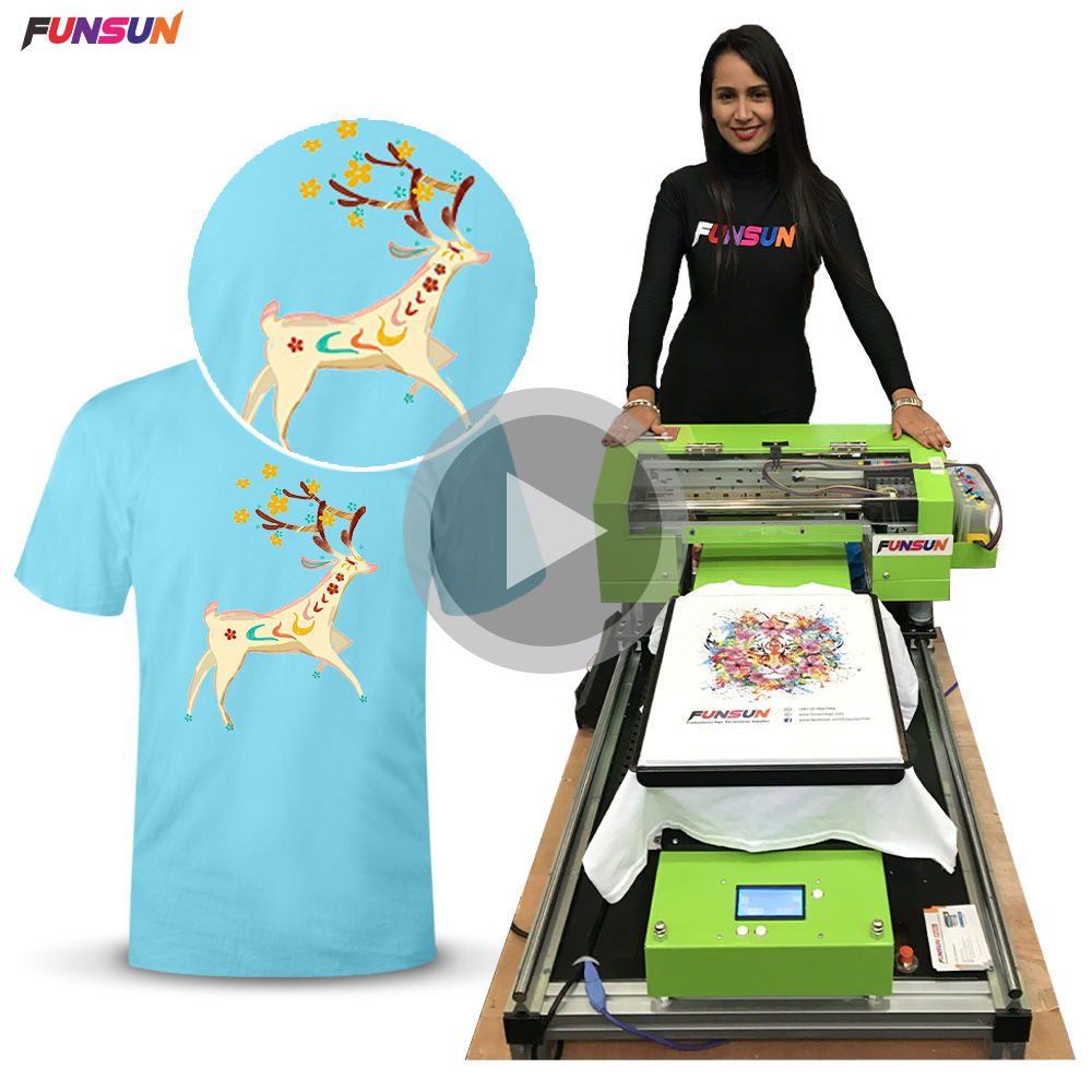 Customized t-shirt printing machine in low cost printing for all colors t-shirts