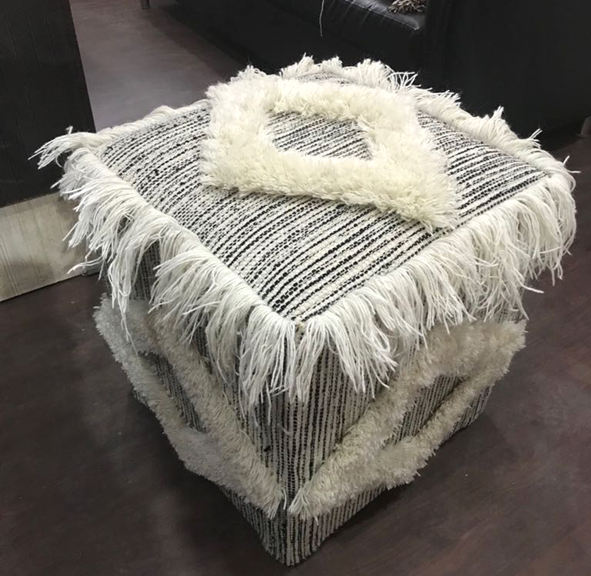 CUSTOM SIZE INDIAN WOOL POUF OTTOMAN STOOL