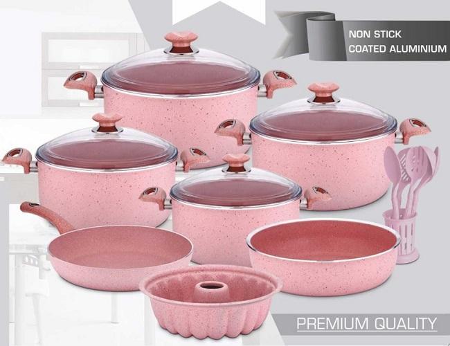 Oms Premium Granite 7 Piece Cookware Set Purple