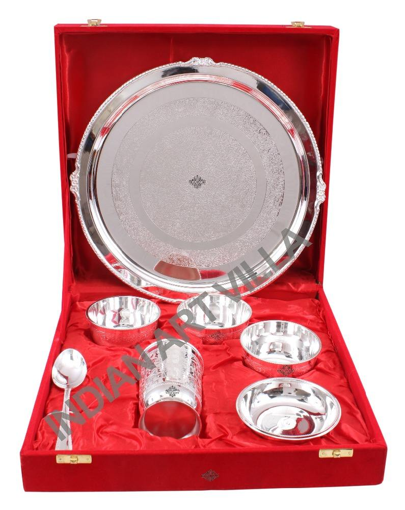 Indian Art Villa Silver Plated 7 Piece Dinner Set Thali Serving Dishes Dinnerware Home Hotel Restaurant
