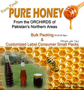 BEE HONEY from PAKISTAN's Northern Areas (Pure Farm Fresh Honey) Bulk & Consumer Packing also with custom label