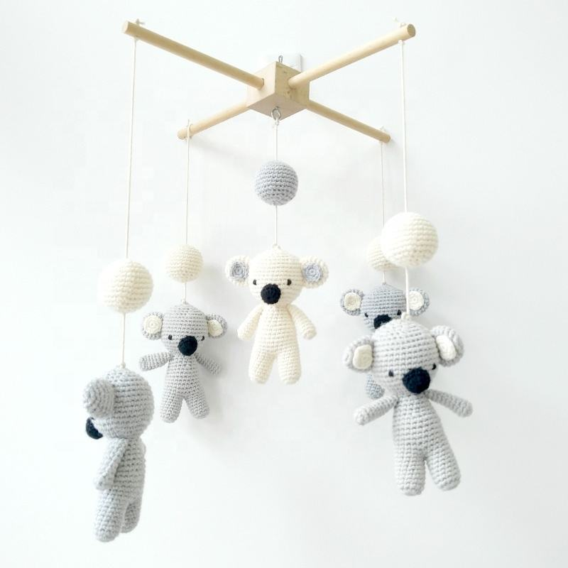 Custom Handmade Eco-friendly Australia Plush Cute Koala Wooden Crib Baby Mobile Felt Hanging With Crochet Toys For Babies