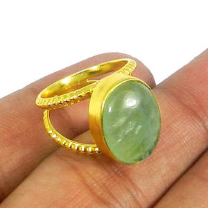 Natural green fluorite gemstone handmade gold plated bezel set ring