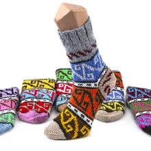 HAND MADE COLORFUL WOOL TURKISH SOCKS KILIM PATTERNED FROM TURKEY
