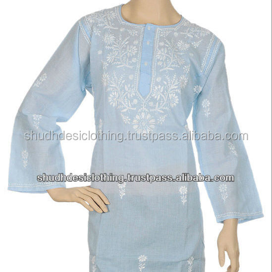 Handmade Lucknowi Traditional Chicken Kurta and Tops