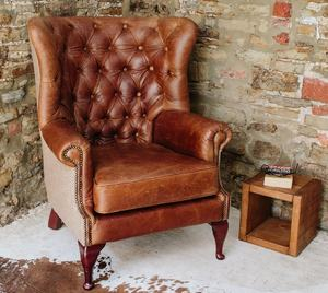 Vintage Leather & Tweed Chesterfield Armchair /Vintage leather arm chair