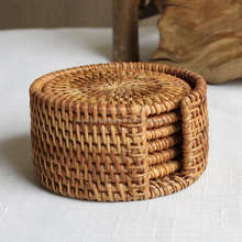 Set of 6 natural rattan coaster with cover box.