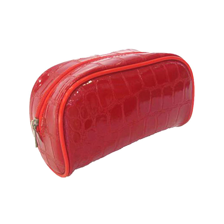 Promotional cosmetic and make-up case made of faux leather fabric with a solid red handle and without handle