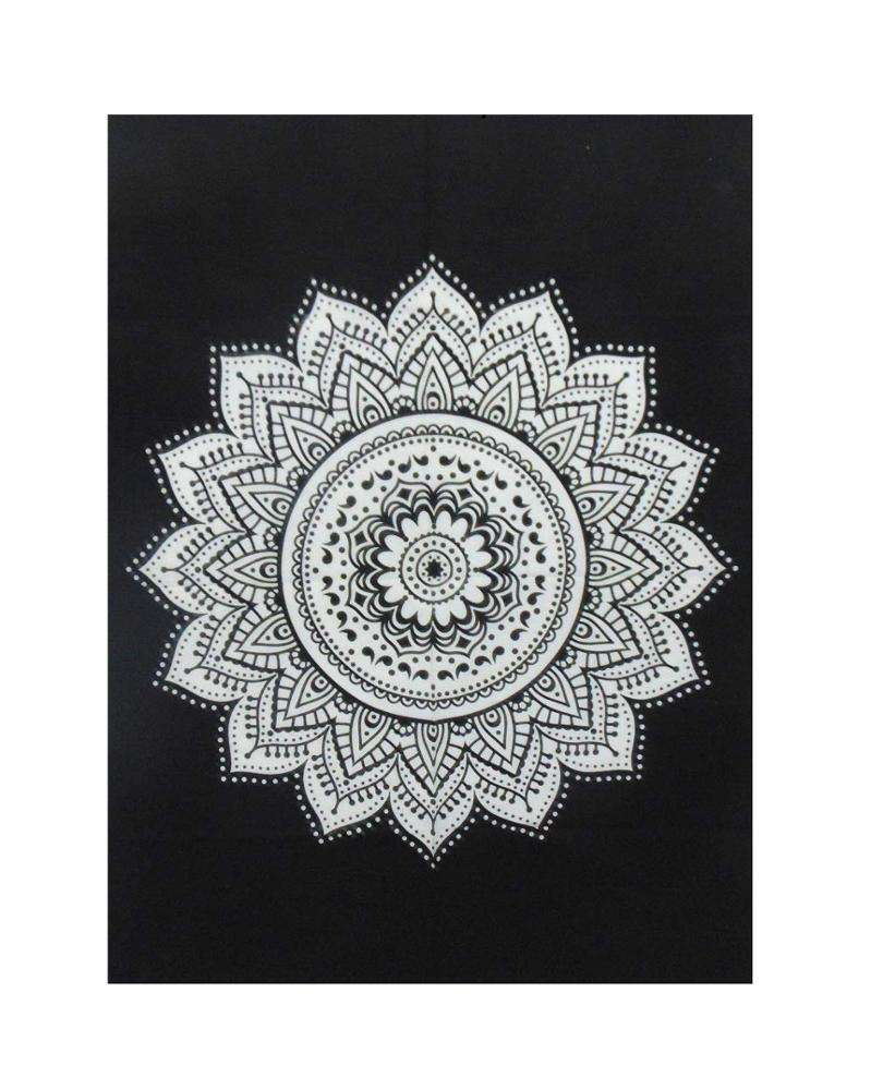 Tapestry GAD Flower Ombre Mandala for Wall Hanging, Beach Throw, Bedsheet, Table Cover, Picnic Yoga Mat Black 84 X 54 Inches
