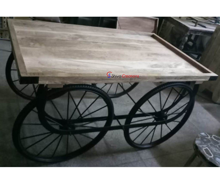 Iron Wood Hotel Restaurant Metal Cart Thela Gadi Table Furniture India