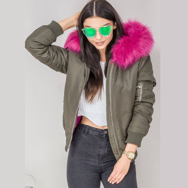 Hot Sale Cheap Price Pink Satin Bomber Jackets Fashion Women Plain Ladies Coats Zip Up Winter Clothes