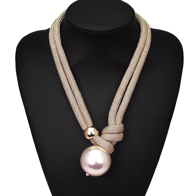 HANSIDON Big Pearl Pendant Necklaces Women Handmade Rope Adjustable Statement Chokers Necklaces Long Fashion Jewelry