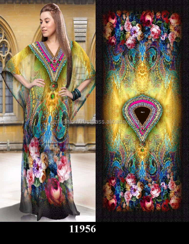 Digital Print Kaftan / Digital Print Dress / Digital Print Silk Kaftan / Digital Print Kaftan India / Fabric Digital Print