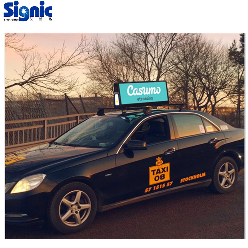Double Face LED 3G 4G WiFi taxi roof led display/led screen car advertising/Digital Taxi Top Advertising sign