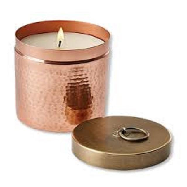 copper wax candle jar with brass lid