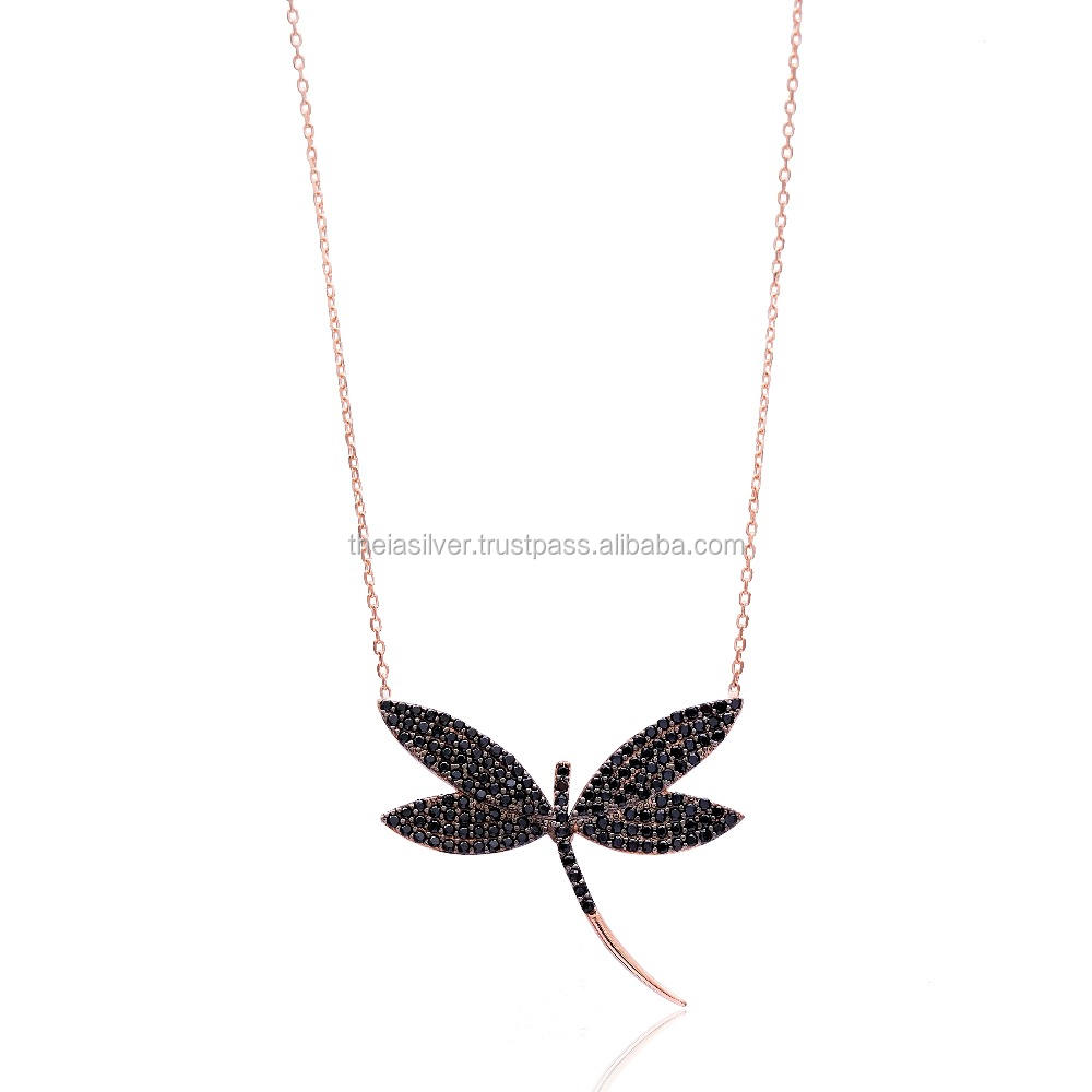Rose Gold Plated Dragonfly Design Black Zircon Pendant Wholesale Turkish Handmade 925 Sterling Silver Jewellery For Women