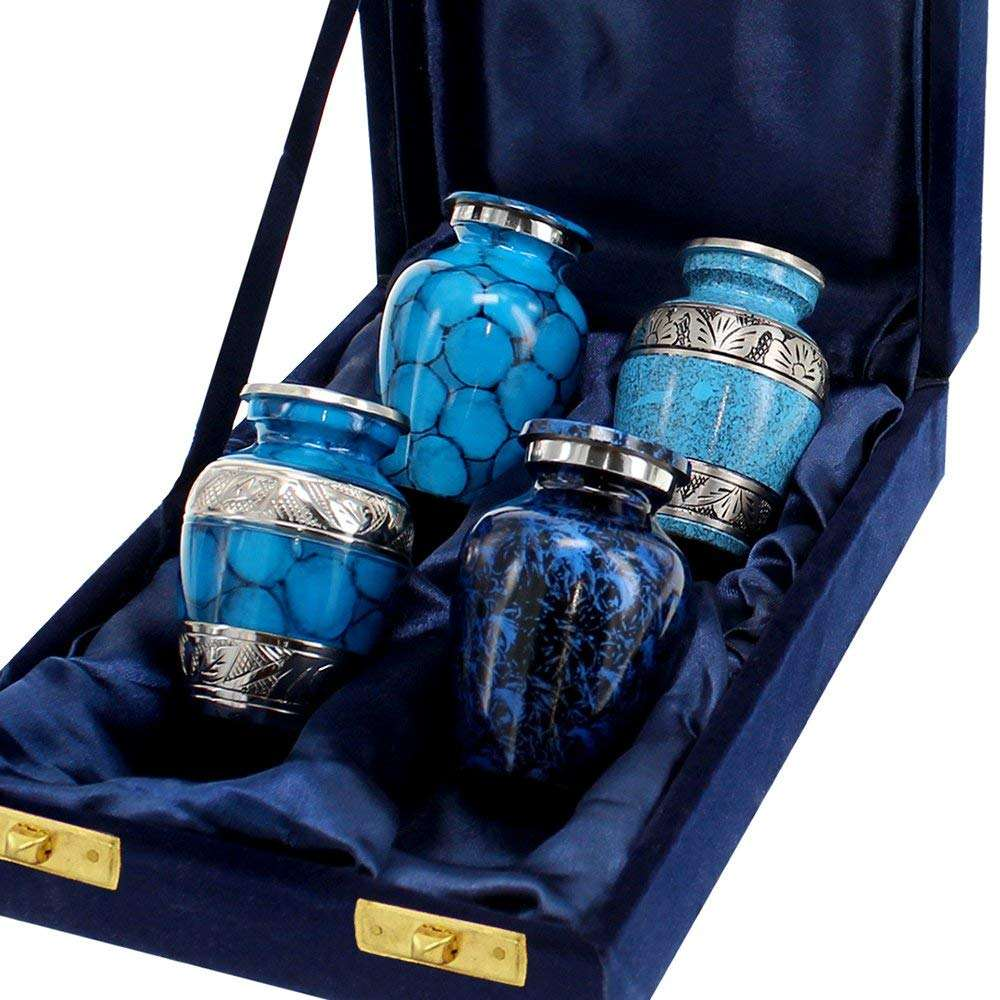 Set Of Four Blue Keepsake Funeral Urns with Black Gift Box