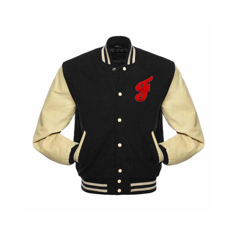 New Black Wool Varsity Letterman Jackets Black Real Leather Sleeves Yellow Rib