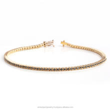 14K Yellow Gold Bracelete With Natural Black Diamonds Total 1.01 Carat