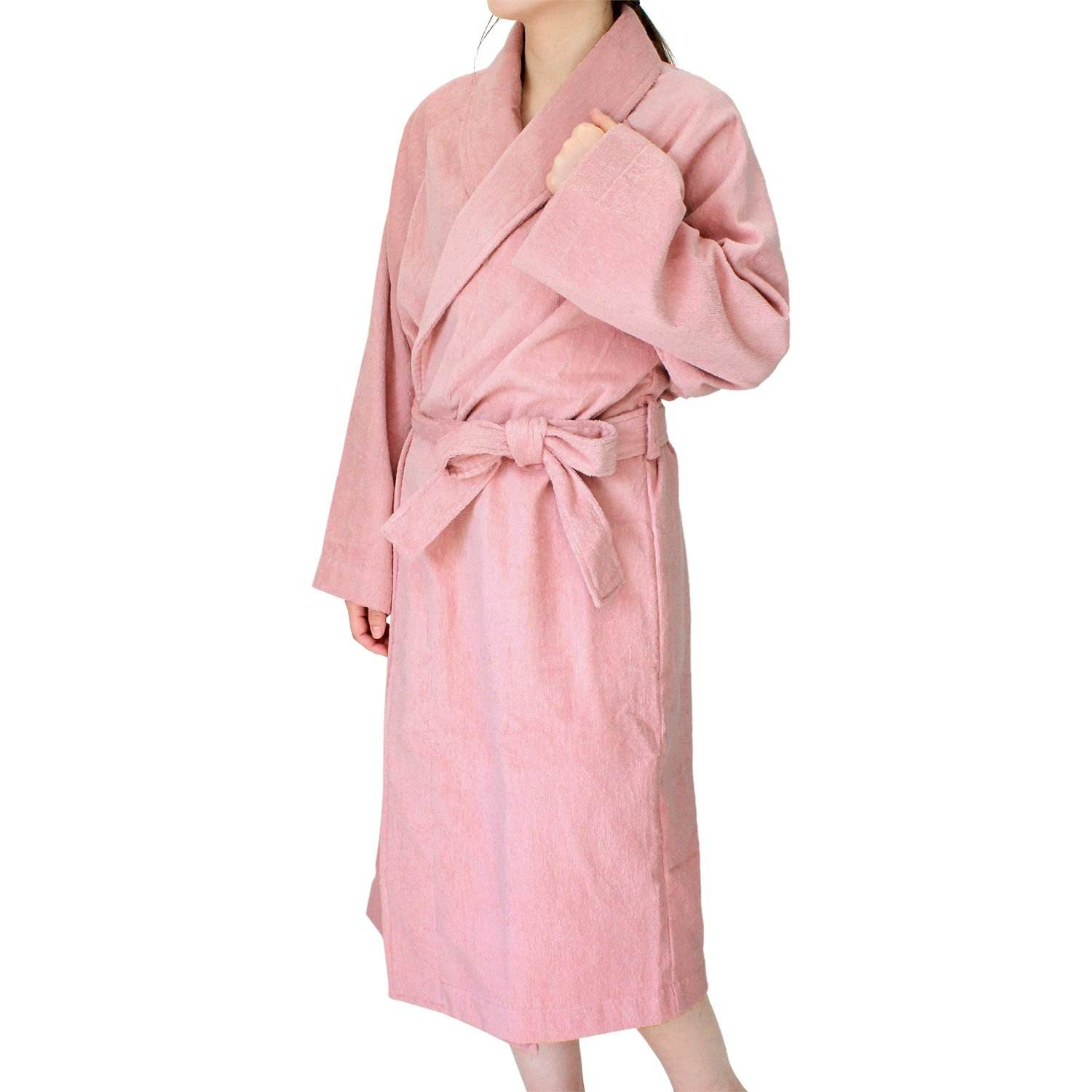 Cotton towel bath robe 109cm * 57cm unisex made in Japan terry cloth bath robe light pink