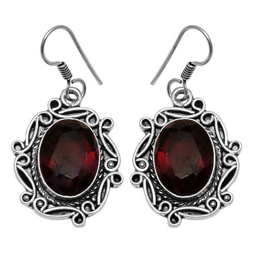 Beautiful Red Glass Gemstone German 925 Silver Earring
