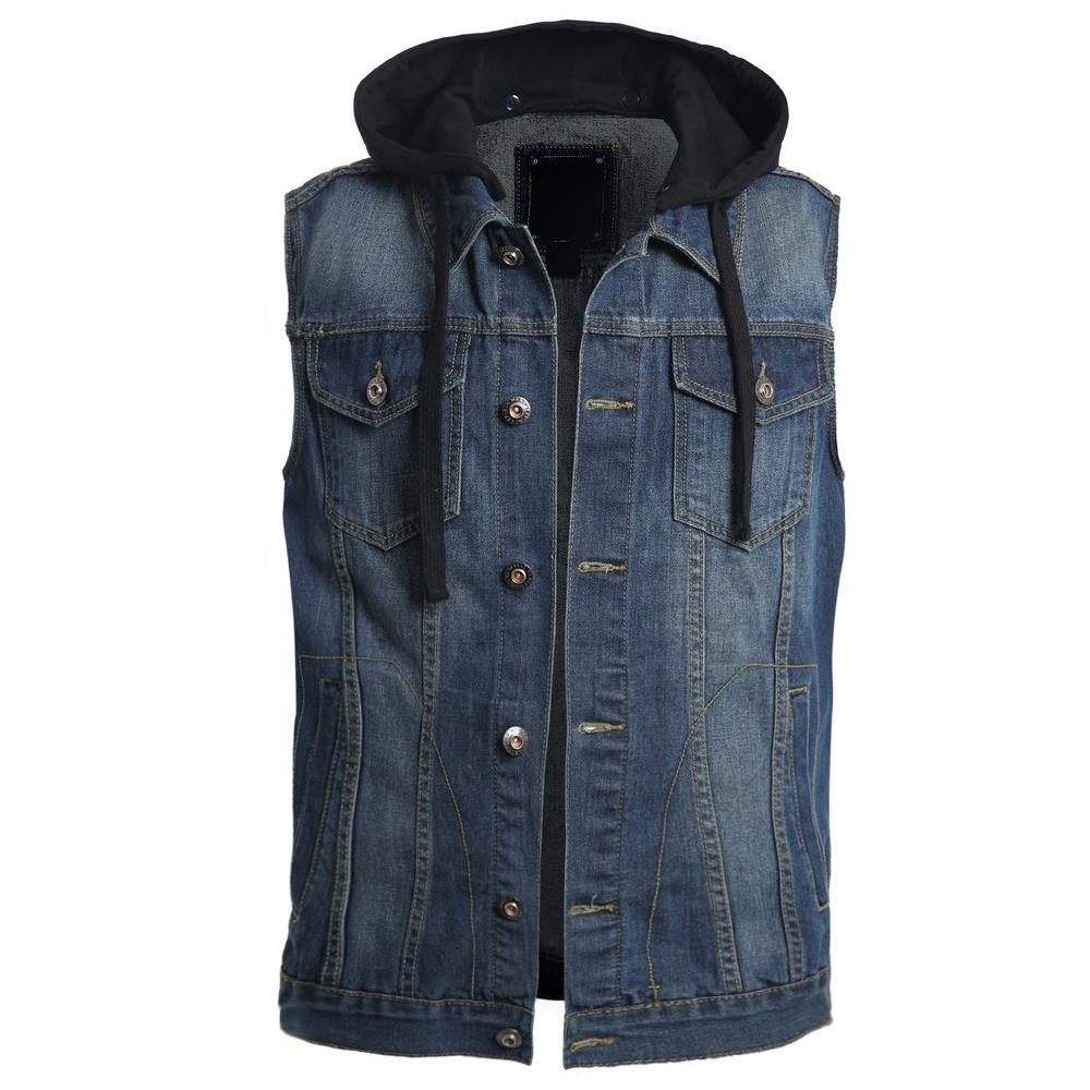 Online shopping customized manufactured men's denim vest with removable hoodie style street wear wholesale casual jeans vest