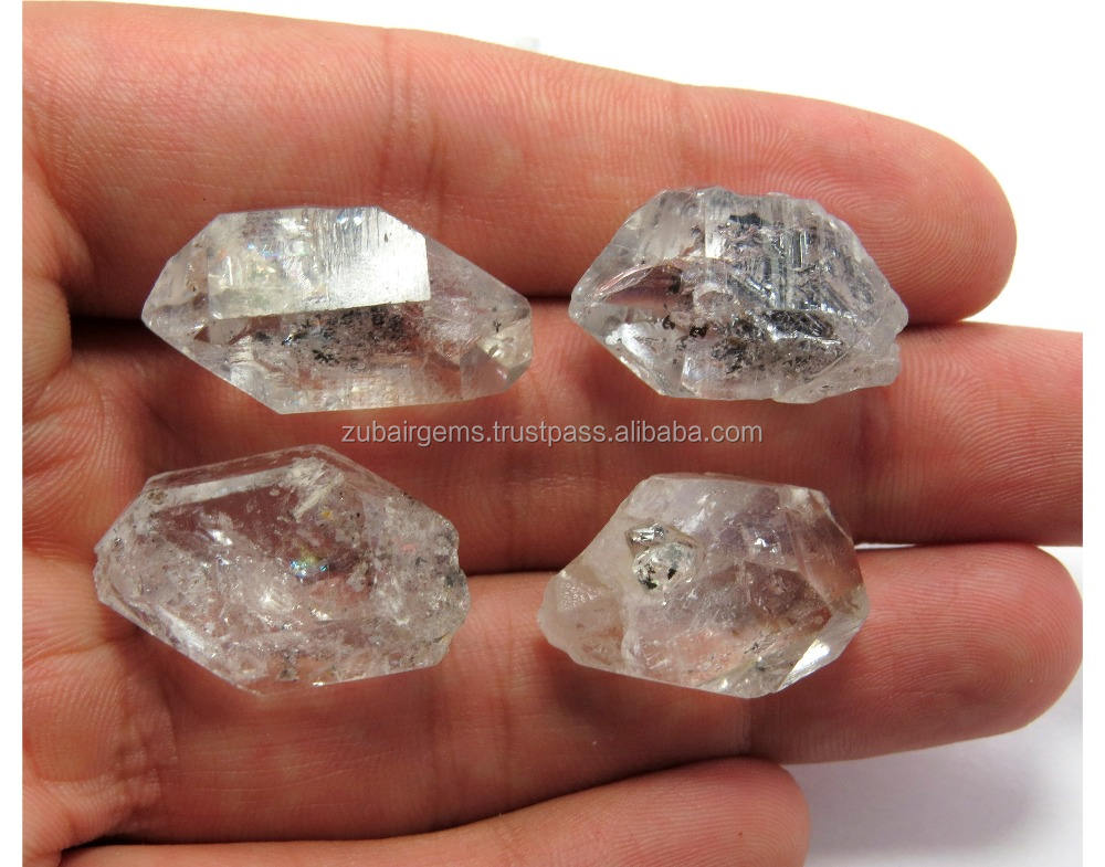 Large 4 Pcs Natural Herkimer Diamonds Loose Stone Rough Good Quality