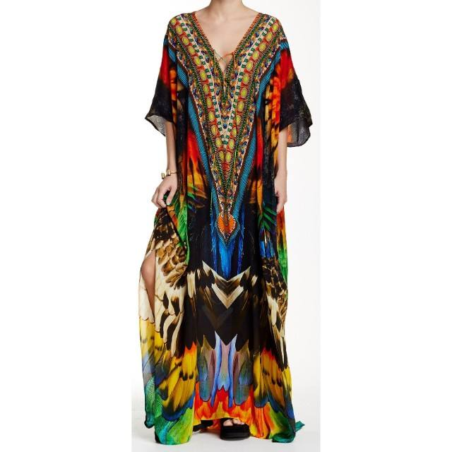 hot selling collection digital printed silk kaftan v-neck loose fitting comfortable embellishment work kaftan