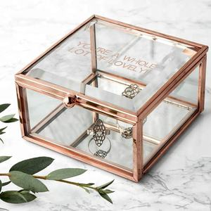 Metal jewelry storage box Rose Gold glass jewelry box