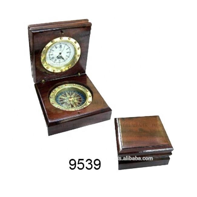 Brass Nautical Compass With Clock In Wooden Box Brass Pocket Compass