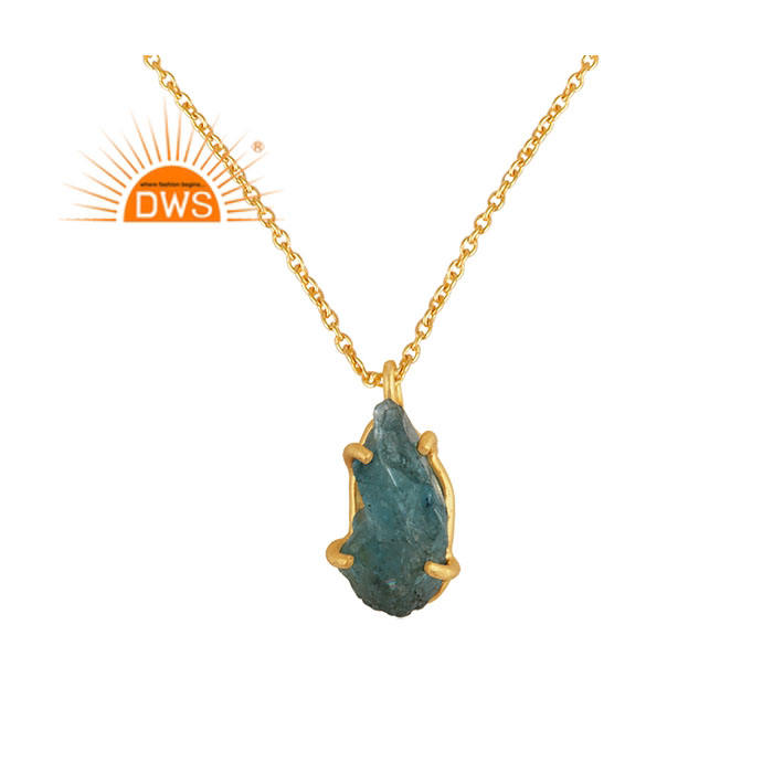 Natural Apatite Gemstone Designer Pendant 925 Sterling Silver Gold Plated Chain Pendant Jewelry Wholesaler