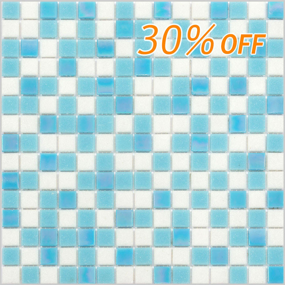 Stock promotion blue mix glass mosaic cheap swimming pool tile bathroom tiles
